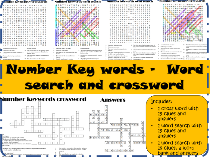 Number key words - maths word search and crossword