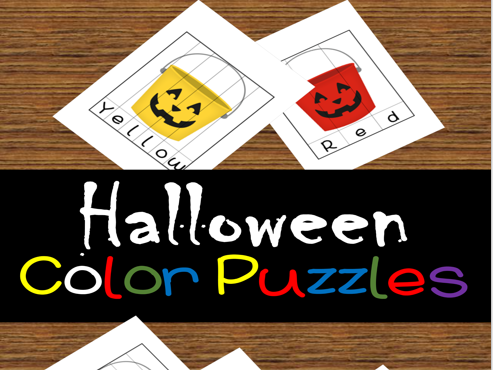 Color Words Halloween Jack O Lantern Bucket Puzzles