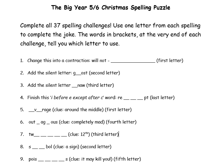 Christmas Spelling Fun, Year 5 and 6 word list