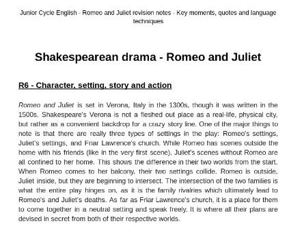 Junior Cycle English Romeo and Juliet notes for revision