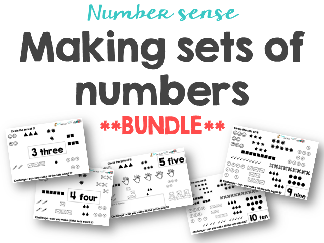 Making sets of numbers 3 to 10 Number sense and mastery Bundle