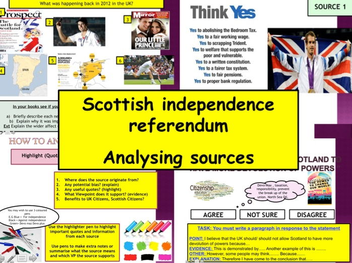 Scottish Independence Referendum lesson pack Citizenship GCSE 9-1 Source Analysis