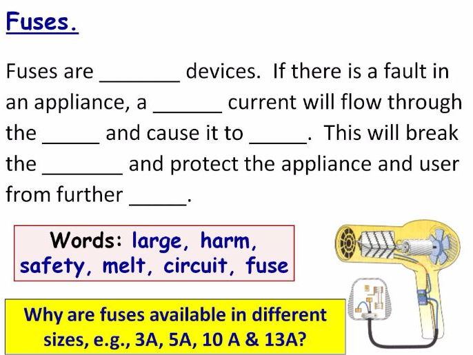 Strange Using Electricity Safely Year 7 Lesson Powerpoint Ks3 7Je Fuses Wiring 101 Xrenketaxxcnl
