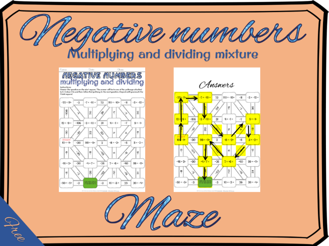 Negative numbers: multiplying and dividing negative numbers maze