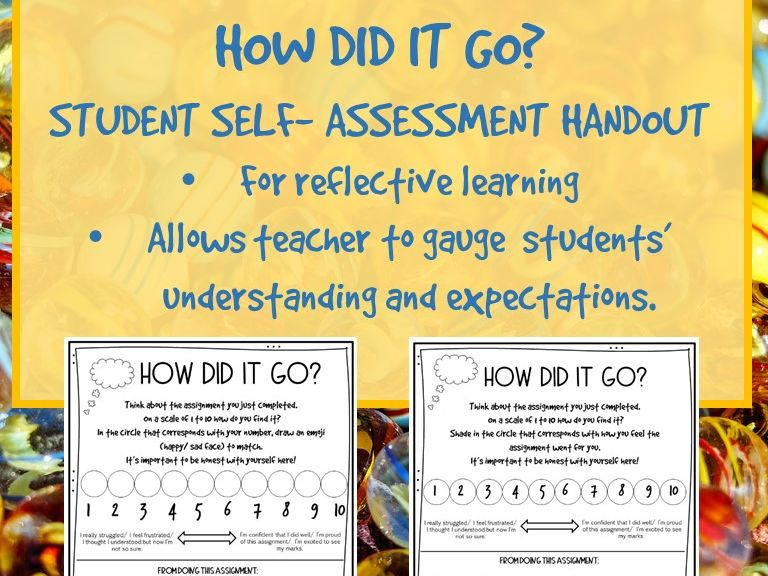 How Did it Go? Reflective Learning Self- Assessment  Handout for Students.