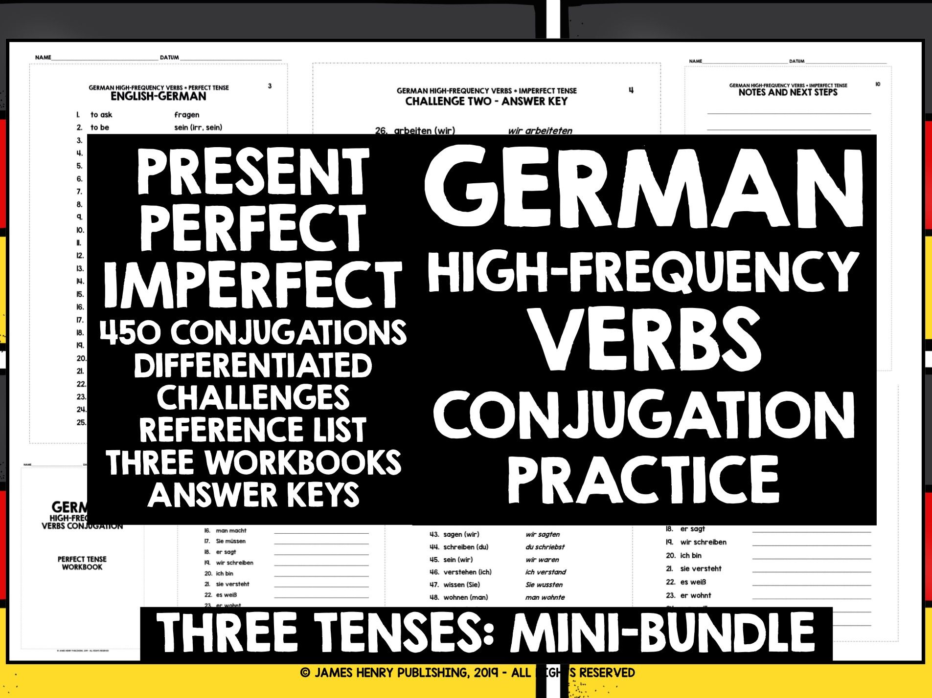 GERMAN HIGH-FREQUENCY VERBS CONJUGATION MINI-BUNDLE #1