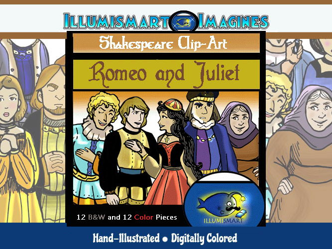 Shakespeare-Romeo & Juliet ClipArt! 24 pieces (BW and Color!)