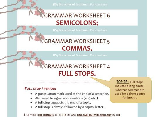 Punctuation Worksheet Pack: Full-stops, Commas and Semi-colons