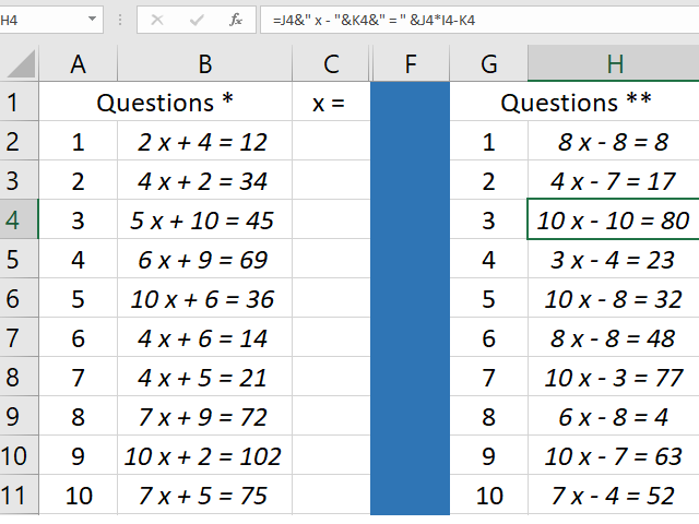 Simple two step linear equations