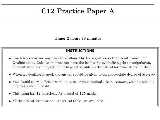 C12 Practice Paper A