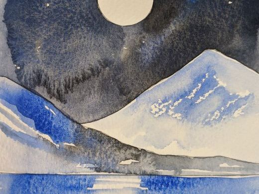 Moon over the water - learn watercolour painting