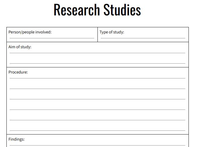 Psychology Revision Worksheet - Summarising Research Studies
