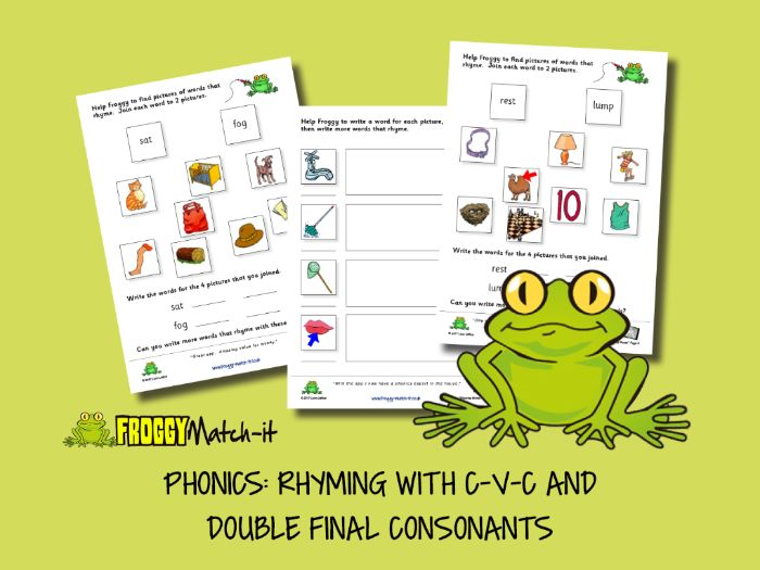 PHONICS: RHYMING WITH C-V-C AND DOUBLE FINAL CONSONANTS