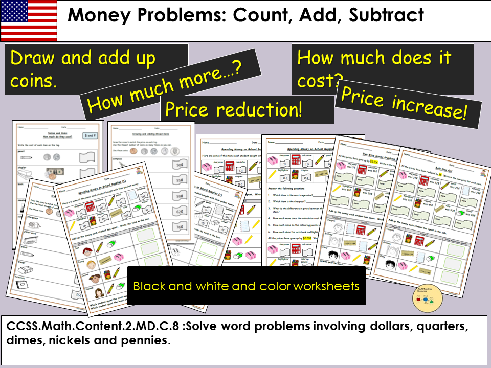 Money Problem Questions, Count, Add and Subtract, Draw coins to match price tags, Worksheets - US
