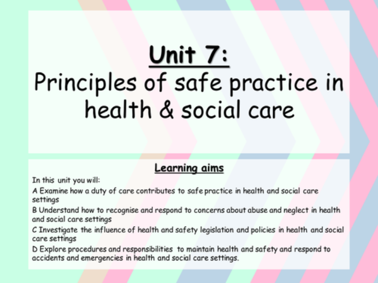 unit 9 health and social level As a part of the a2 level health and social care course you will develop further understanding of the diverse and complex nature of the health and social care sector unit 8 - promoting health and well-being.