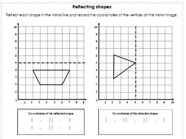Year 3/4/5/6 - Reflecting Shapes across a Mirror Line - 4 Differentiated Worksheets