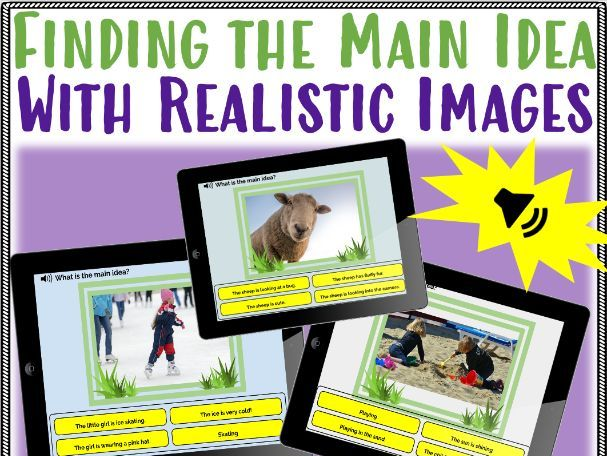 Boom Cards™ Finding the Main Idea With Realistic Images