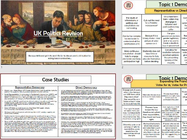 Politics Case Studies and Essay Plan Revision Quilt