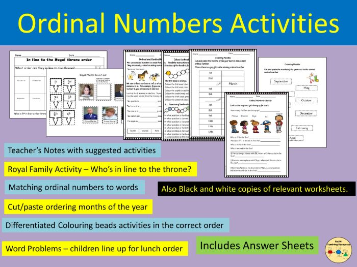 Ordinal Numbers Worksheets Activities Class and Home Work