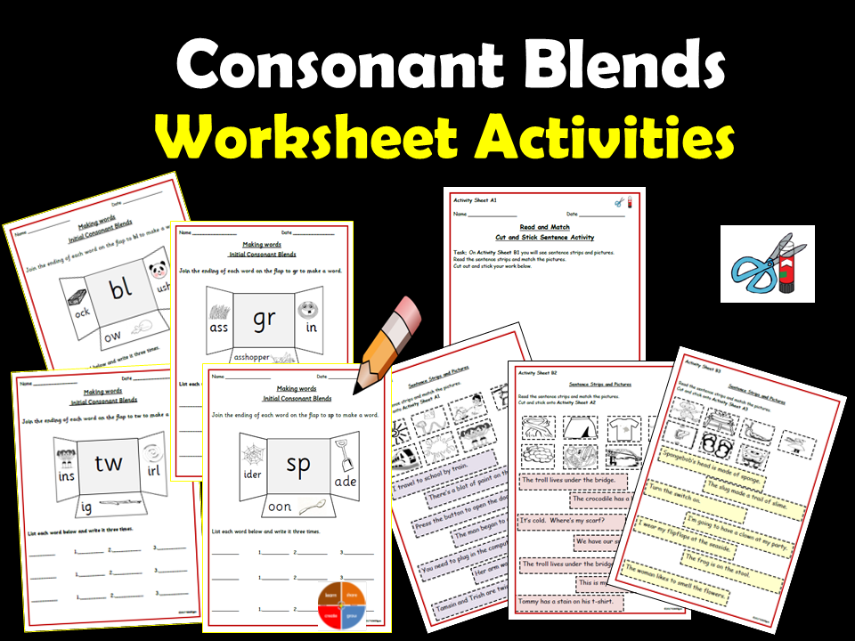 Consonant Blends/Clusters  Writing Worksheets, Cut/Stick tasks - Read to Match Sentences to Pictures