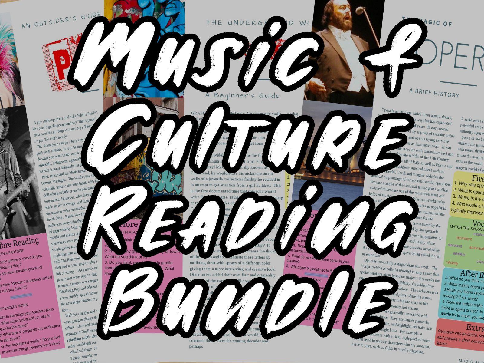 Music and Culture - ESL & English Readings on Opera, Graffiti & Punk w/ FULL Lesson plans