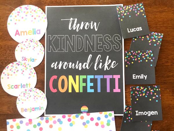 Editable Confetti Classroom Labels