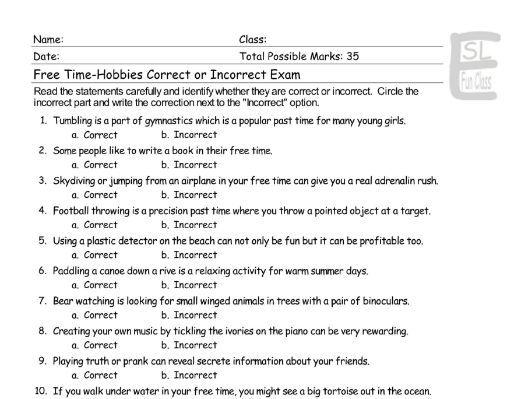 Free Time-Hobbies Correct-Incorrect Exam