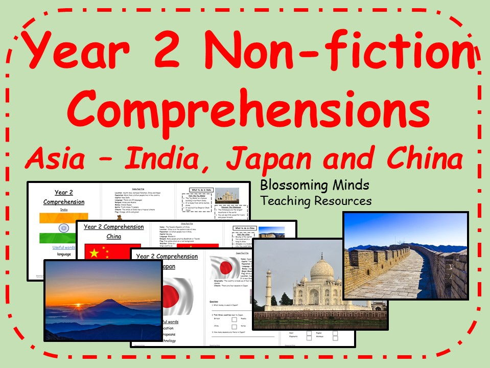 Year 2 non-fiction comprehension bundle - Asia (India, China, Japan)