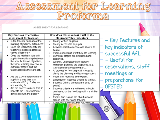 Key Features of Effective Assessment for Learning - AfL