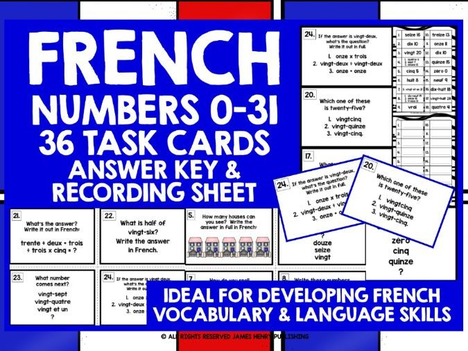 FRENCH NUMBERS 0-31 TASK CARDS