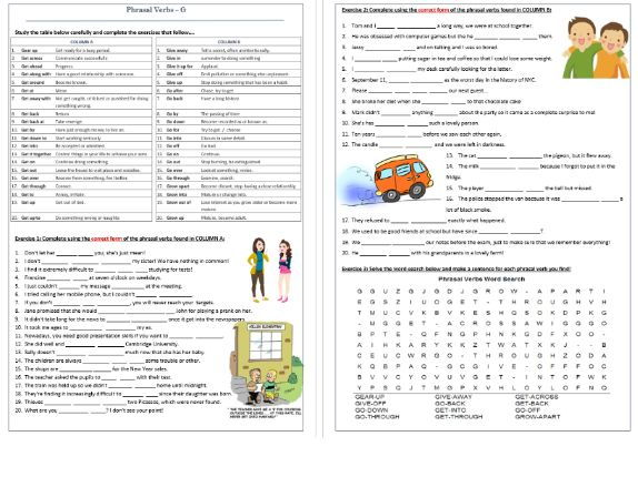 Phrasal Verbs Beginning with G: Worksheet / G- Phrasal Verbs