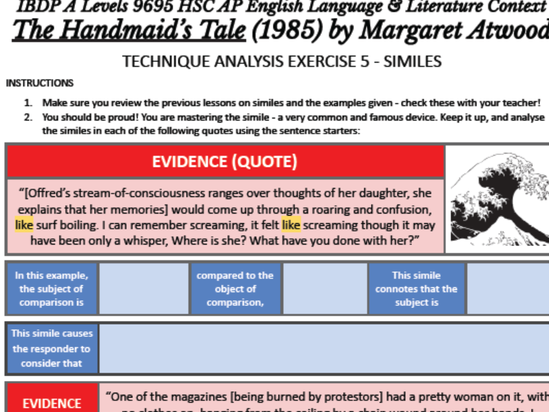 IBDP A Levels 9695 English Lang. Literature Context Handmaid's Tale Atwood TECHNIQUE ANALYSIS 5