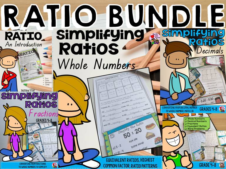 RATIO BUNDLE: WHOLE NUMBERS: DECIMALS:FRACTIONS:WORD PROBLEMS