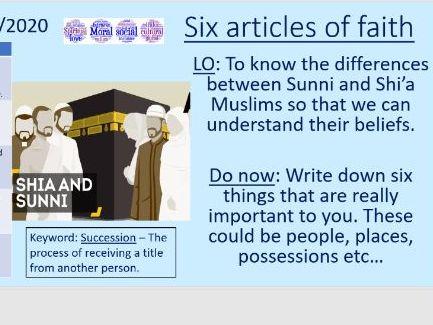 The six articles of faith - Sunni Islam