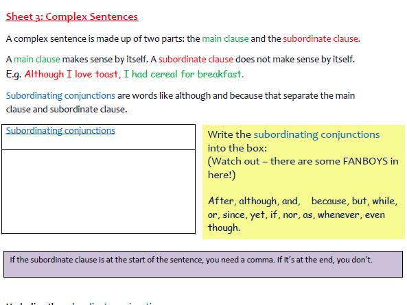 A Worksheet on Complex Sentences (3)