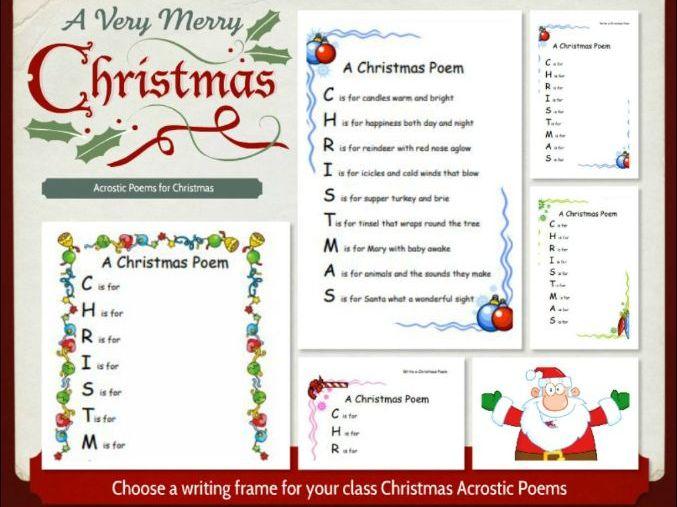 Acrostic Christmas Poem Writing Frames