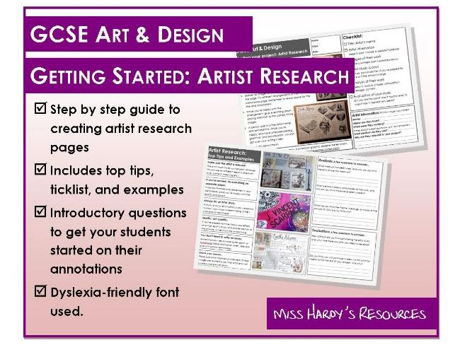 GCSE Art & Design Exam Guide - Artist Research - Step by Step, Top Tips, Examples and Worksheet