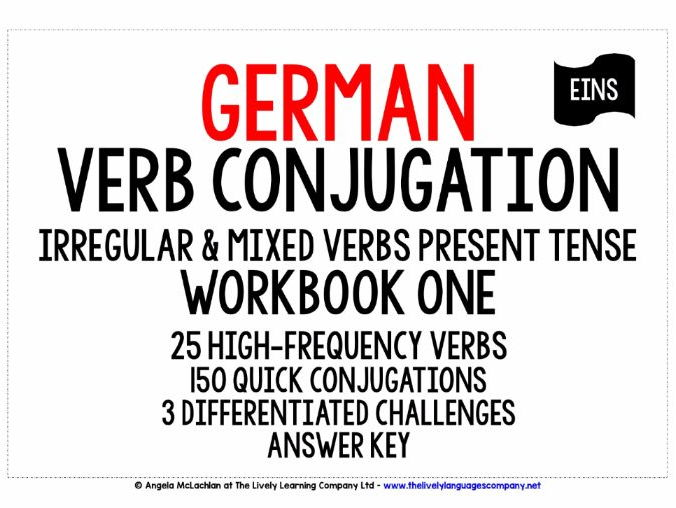 GERMAN IRREGULAR & MIXED VERBS CONJUGATION - PRESENT TENSE WORKBOOK & ANSWER KEY