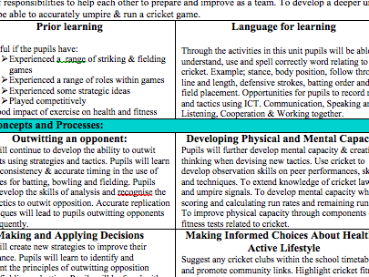 Cricket Schemes of Work (P.E) - Year 7 to 10