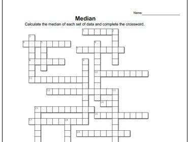 Number Grid: Median Worksheet