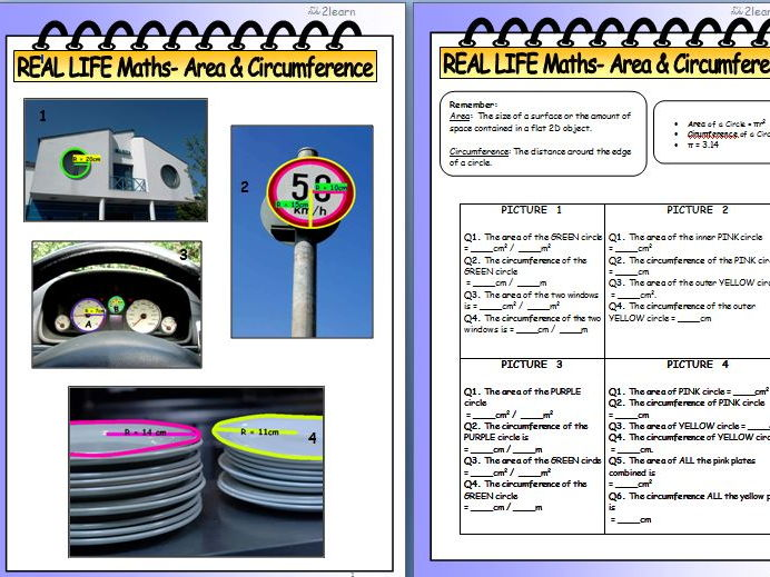 Real Life Maths Revision - The Circle - Area & Circumference 1 Worksheet