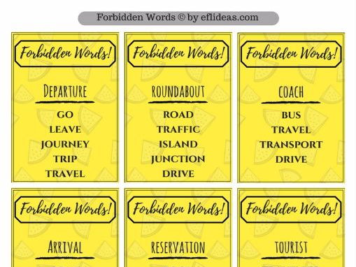 Travel/Holidays Vocabulary Card Game PDF Worksheet