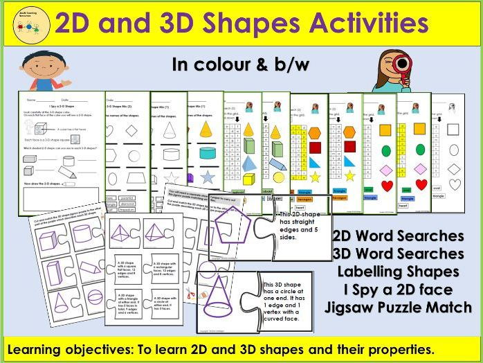 2D and 3D Shapes and Properties - Worksheets, Word Searches, Cut/Paste Jigsaw Puzzles, Match Up