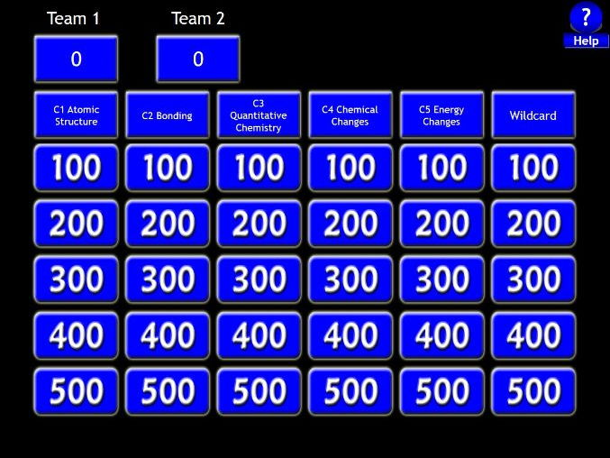 AQA GCSE Chemistry Paper 1 - Revision Jeopardy Game