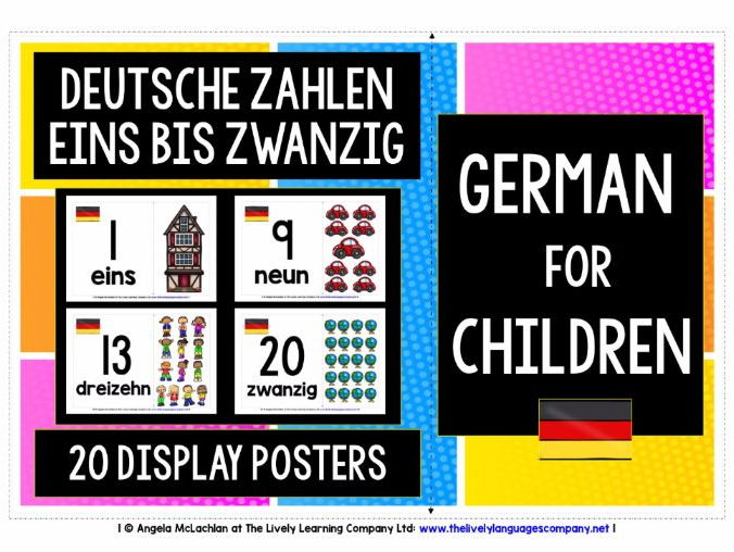 BACK TO SCHOOL PRIMARY GERMAN - NUMBERS 1-20 POSTERS / FLASHCARDS