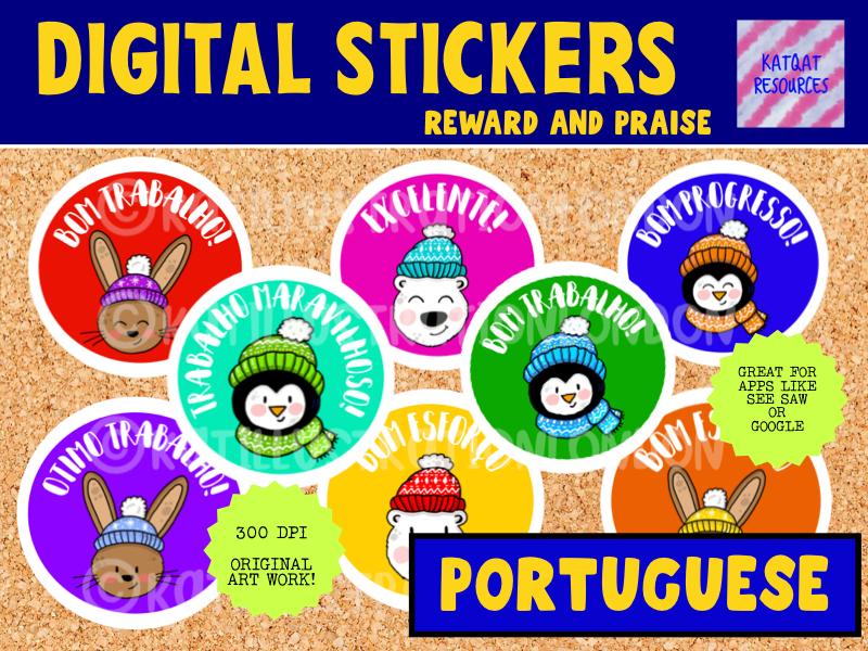 Portuguese Digital Reward Stickers - Winter Theme - Seesaw Google Classroom