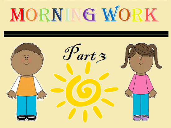 Kindergarten Morning Work Part 3 January