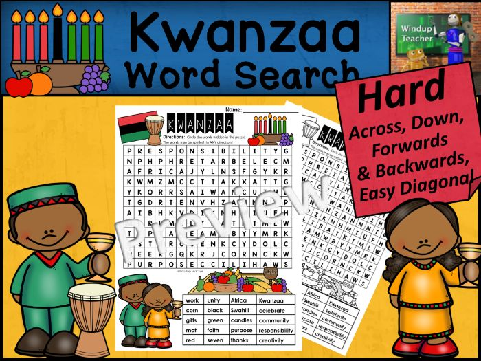 Kwanzaa Word Search | HARD Puzzle | Ready to Go!