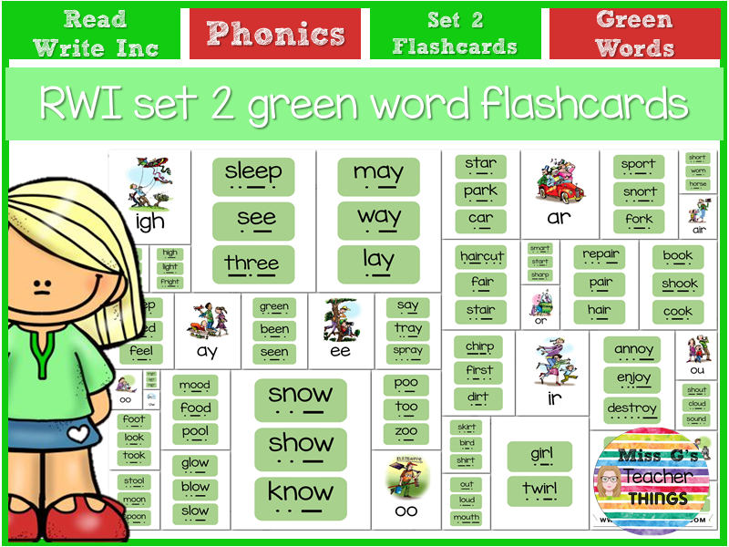 RWI set 2 flashcards and green word cards for classroom or home learning