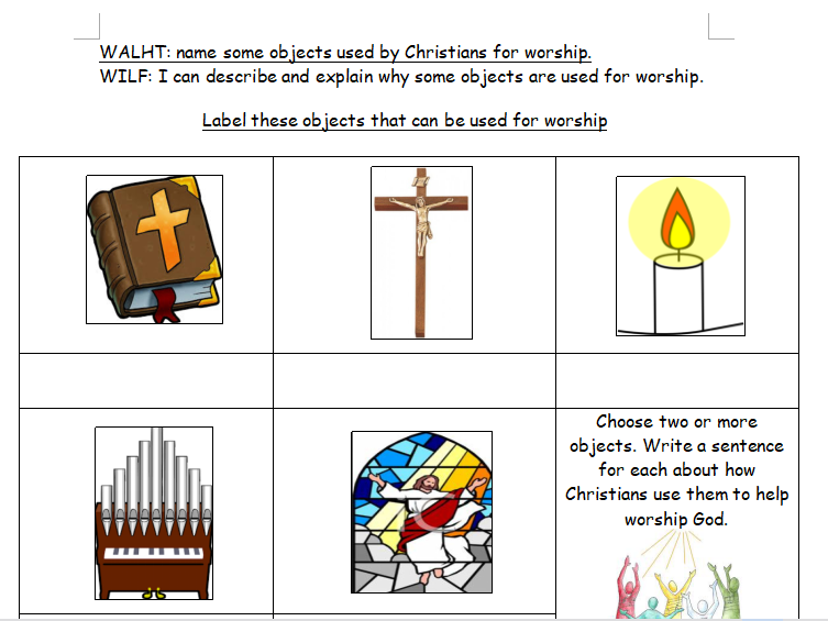 Year One RE Christianity: Objects for Worship Differentiated Worksheets